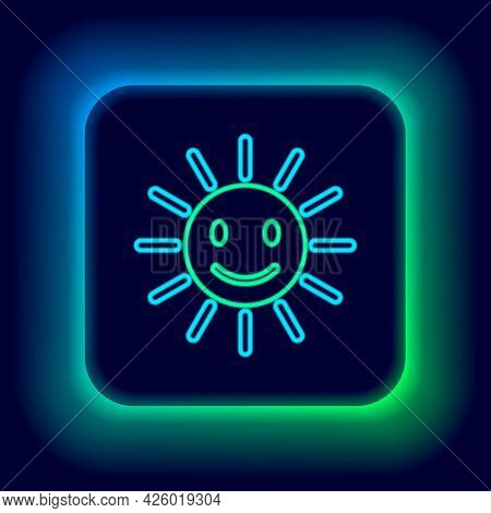 Glowing Neon Line Cute Sun With Smile Icon Isolated On Black Background. Funny Smiling Sun. Happy Su