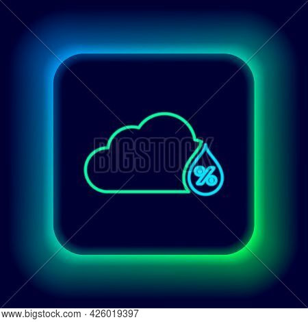 Glowing Neon Line Humidity Icon Isolated On Black Background. Weather And Meteorology, Cloud, Thermo
