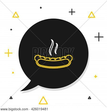 Line Hotdog Sandwich With Mustard Icon Isolated On White Background. Sausage Icon. Fast Food Sign. C
