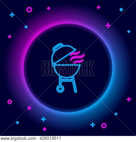 Glowing Neon Line Barbecue Grill Icon Isolated On Black Background. Bbq Grill Party. Colorful Outlin