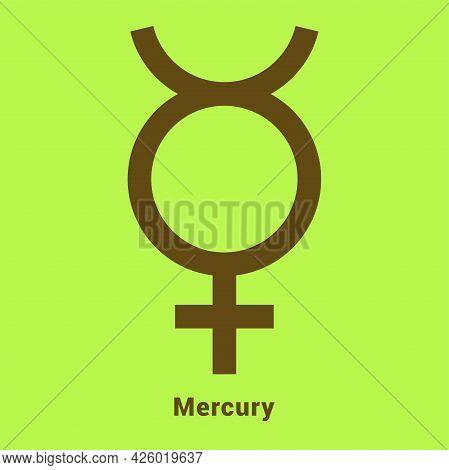 Mercury. Planet Symbol. Vector Color Sign. Astrological Calendar. Jyotisha. Hinduism, Indian Or Vedi