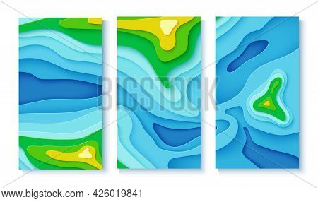 Topographic Map In Papercut Style. Set Of Three Flyers With Top View River, Trees And Mountains In P