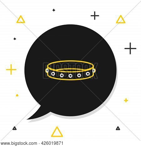 Line Leather Fetish Collar With Metal Spikes On Surface Icon Isolated On White Background. Fetish Ac