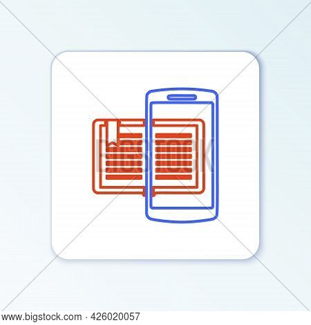 Line Smartphone And Book Icon Isolated On White Background. Online Learning Or E-learning Concept. C
