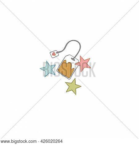Tea Bag. Stars Print. Cartoon Art. Isolated Vector Object On White Background.