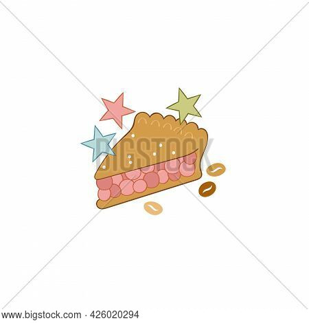 Piece Of Cake. Berry Pie. Sweet Pastries. Stars. Coffee Beans. Isolated Vector Object On White Backg