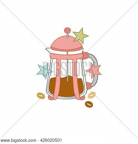Coffee Pot. Hot Drinks. Coffee Beans. Stars. Isolated Vector Object On White Background. Cartoon Art
