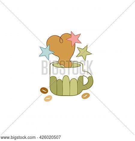 Hot Drink Cup. Tea. Coffee Mug. Coffee Beans. Stars. Cartoon Art. Isolated Vector Object On White Ba