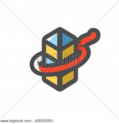 Annexation Territory Border Post In The Loop Vector Icon Cartoon Illustration