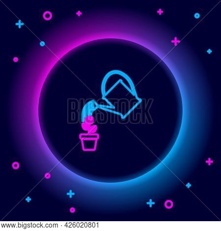 Glowing Neon Line Watering Can Sprays Water Drops Above Flower In Pot Icon Isolated On Black Backgro