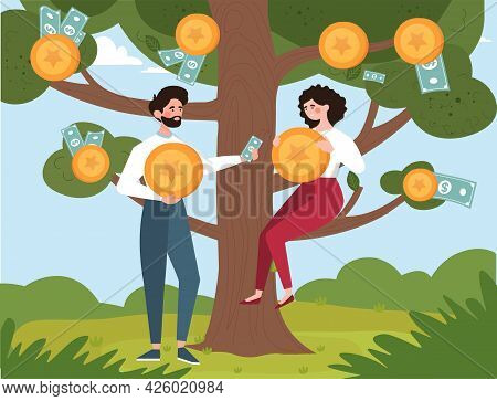 Abstract Concept Of Investing And Making A Profit. Man And Woman Collect Bills And Coins From The Mo