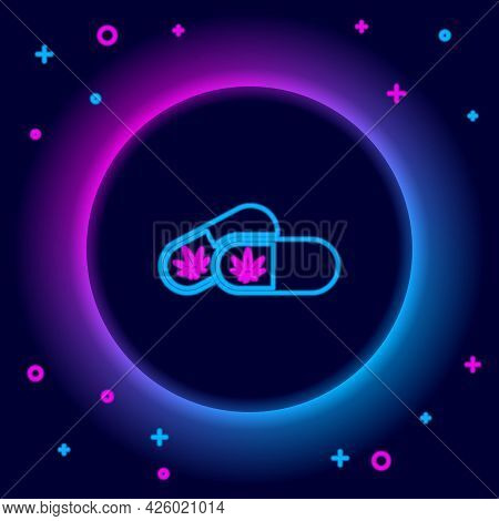 Glowing Neon Line Medical Pills With Marijuana Or Cannabis Leaf Icon Isolated On Black Background. M