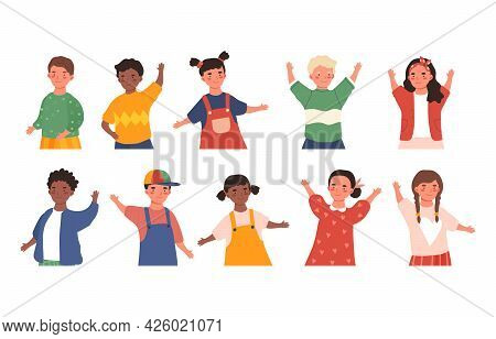 Set Of Children Avatars. Beautiful Smiling Boys And Girls With Different Hairstyles And Different Ap