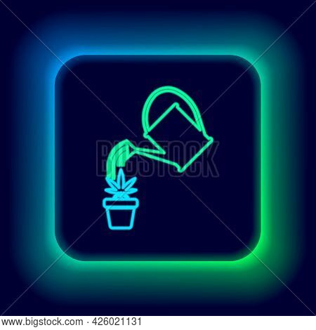 Glowing Neon Line Watering Can Sprays Water Drops Above Marijuana Or Cannabis Plant In Pot Icon Isol
