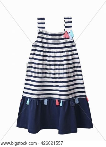 Beautiful Child Girl's Summer Dress Isolated On White Background. Kid's Garment. Fashion Clothes. St