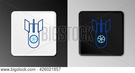 Line Nuclear Bomb Icon Isolated On Grey Background. Rocket Bomb Flies Down. Colorful Outline Concept