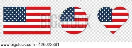 American Flag In The Shape Of Square, Heart And Circle. Vector Illustration Isolated On Transparent