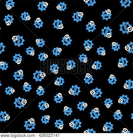Line Uv Protection Icon Isolated Seamless Pattern On Black Background. Sun And Shield. Ultra Violet