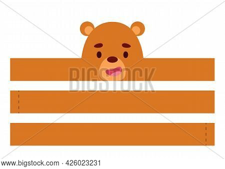 Printable Bear Paper Crown. Diy Cut Party Ribbon Template For Birthday, Christmas, Baby Shower. Fun