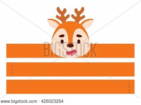 Printable Deer Paper Crown. Diy Cut Party Ribbon Template For Birthday, Christmas, Baby Shower. Fun