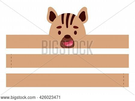 Printable Hyena Paper Crown. Diy Cut Party Ribbon Template For Birthday, Christmas, Baby Shower. Fun
