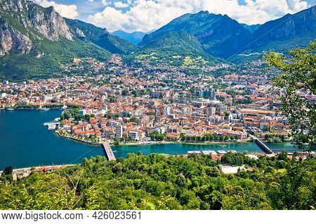 Town Of Lecco Panoramic View Fron The Hill, Como Lake In Lombardy Region Of Italy
