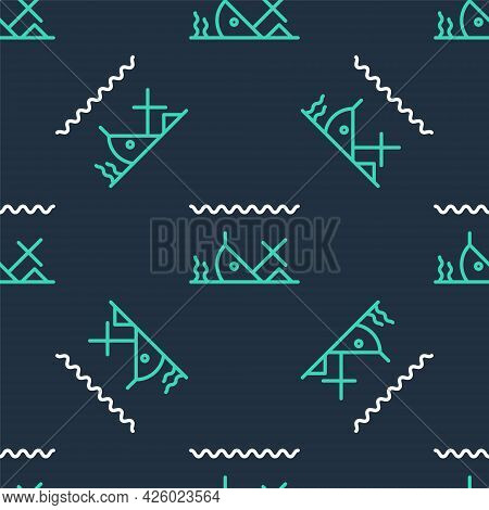 Line Sunken Ship At The Bottom Of The Sea Icon Isolated Seamless Pattern On Black Background. Vector