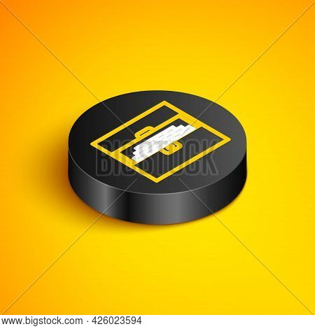 Isometric Line Opened Antique Treasure Chest Icon Isolated On Yellow Background. Vintage Wooden Ches