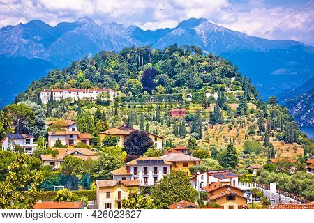 Town Of Belaggio On Como Lake Aerial Landscape View, Lombardy Region Of Italy