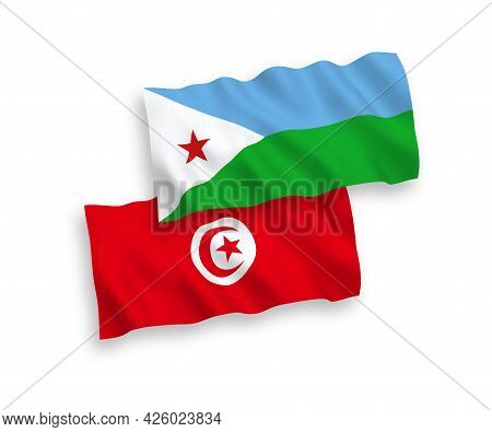 National Fabric Wave Flags Of Republic Of Djibouti And Republic Of Tunisia Isolated On White Backgro