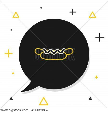 Line Hotdog Sandwich With Mustard Icon Isolated On White Background. Sausage Icon. Street Fast Food