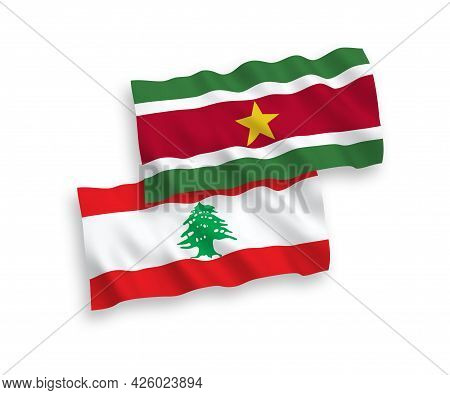 National Fabric Wave Flags Of Republic Of Suriname And Lebanon Isolated On White Background. 1 To 2