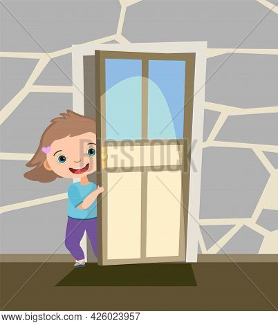 Child Peek In The Door. Opened The Entrance. Funny Girl Kid. View From Inside The Room. Cartoon Styl
