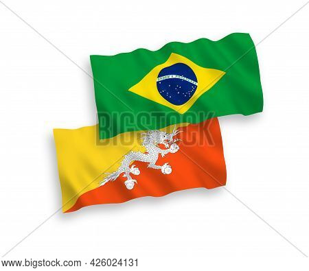 National Fabric Wave Flags Of Brazil And Kingdom Of Bhutan Isolated On White Background. 1 To 2 Prop