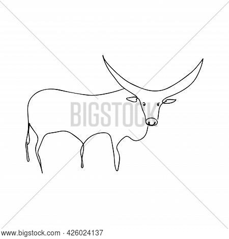 Drawing A Single Or Continuous Line Of A Bull. Vector Illustration. Silhouette Of A Bull, Buffalo In