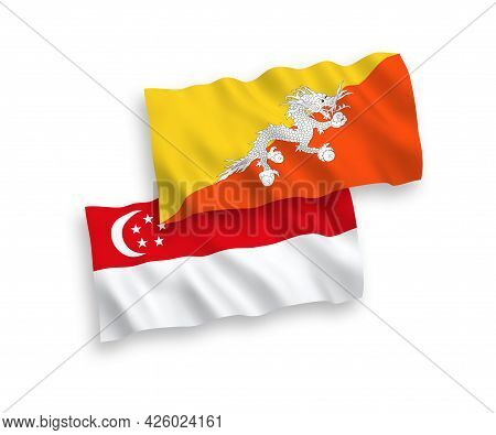 National Fabric Wave Flags Of Kingdom Of Bhutan And Singapore Isolated On White Background. 1 To 2 P