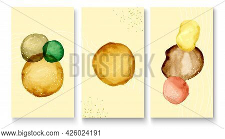 A Collection Of Abstract Autumn Backgrounds With Watercolor Spots And Scuffs. Watercolors And Linear