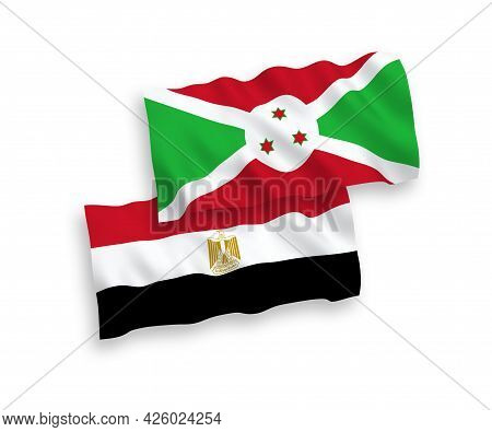 National Fabric Wave Flags Of Burundi And Egypt Isolated On White Background. 1 To 2 Proportion.