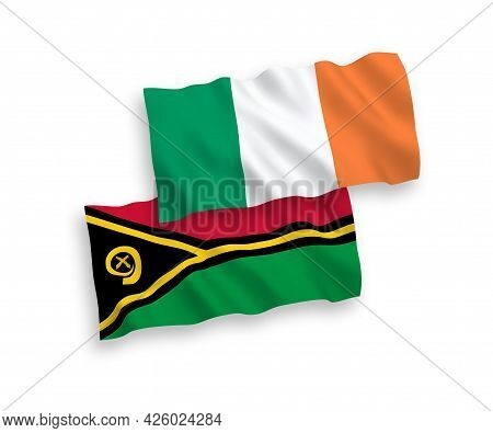 National Fabric Wave Flags Of Ireland And Republic Of Vanuatu Isolated On White Background. 1 To 2 P