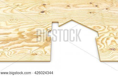 house silhouette obtained from a plywood panel. 3d render