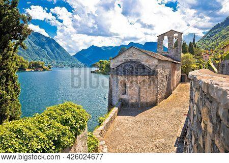 Chiesa Di San Giacomo Church On Como Lake View, Ossuccio In Lombardy, Italy