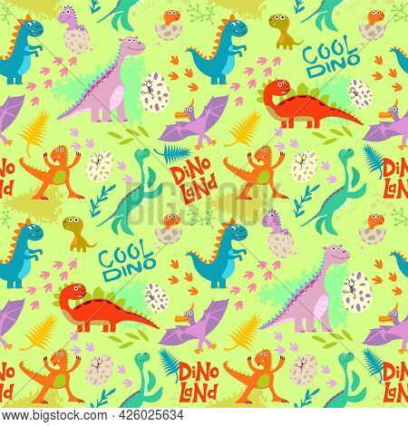 Cute Colored Dinosaurus Seamless Pattern Vector Design. Illustration Of Seamless Background Dino, An