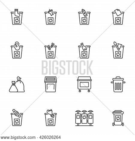 Waste Sorting Line Icons Set, Recycling Bin Outline Vector Symbol Collection, Linear Style Pictogram