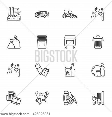 Garbage, Waste Line Icons Set, Outline Vector Symbol Collection, Linear Style Pictogram Pack. Signs,