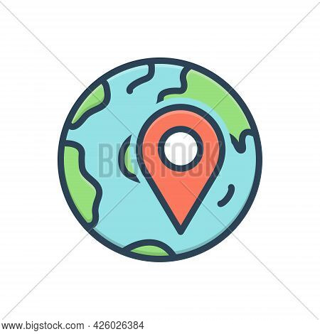 Color Illustration Icon For Locally App Localization Navigation Pointer Location Gps