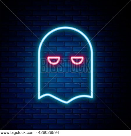 Glowing Neon Line Executioner Mask Icon Isolated On Brick Wall Background. Hangman, Torturer, Execut