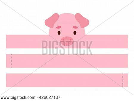 Printable Pig Paper Crown. Diy Cut Party Ribbon Template For Birthday, Christmas, Baby Shower. Fun A
