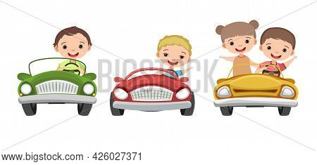Set. Children Drive A Car. Kids. Boys And Girl. Childrens Pedal Or Electro Automobile. Toy Vehicle.