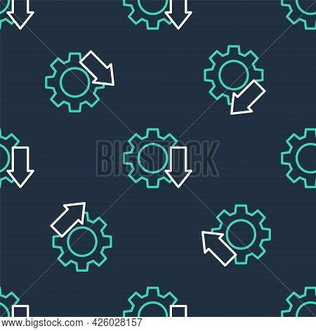 Line Cost Reduction Icon Isolated Seamless Pattern On Black Background. Vector