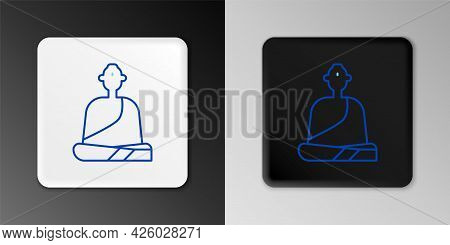 Line Buddhist Monk In Robes Sitting In Meditation Icon Isolated On Grey Background. Colorful Outline
